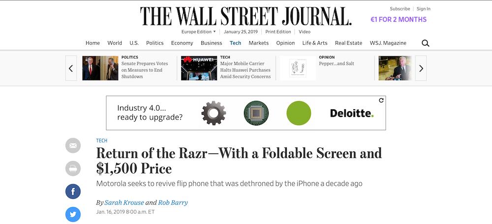 Pris du Motorola RAZR 1500 $