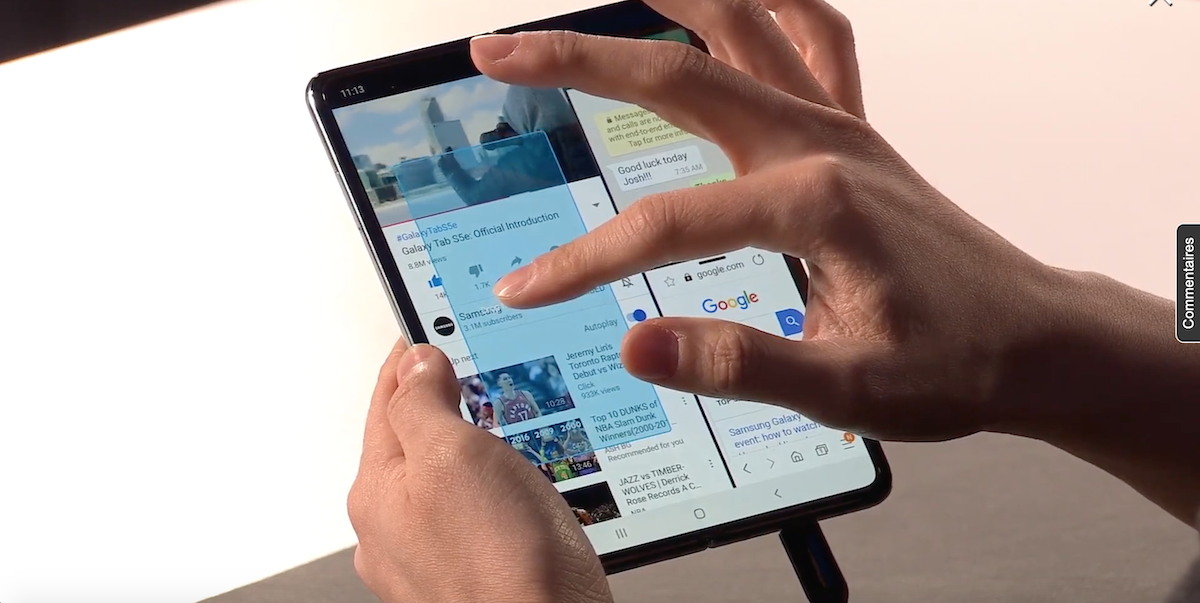 Samsung Galaxy Fold plusieurs applications